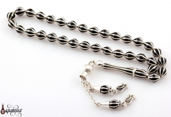 Oltu Tesbih 8 Li Beyzi Kesim Gümüş İşleme ve Püskül - Thumbnail