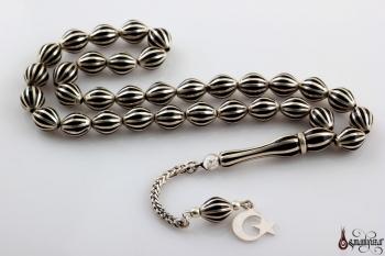 Oltu Tesbih Karpuz Yarma Beyzi Kesim Gümüş İşleme - Thumbnail