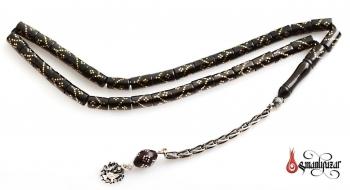 Oltu Tesbih Silindir Kesim 925 Ayar Gümüş Püsküllü - Thumbnail