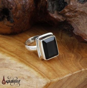 Dumanlı Kuvars Taşlı 925 Ayar Gümüş Bayan Yüzüğü - Thumbnail