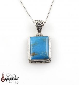 Orjinal Firuze Taşlı Gümüş Kolye - M4 - Thumbnail