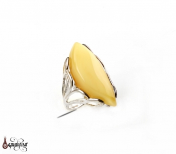 Orjinal KEHRİBAR Taşlı 925 Ayar Bayan Gümüş Yüzüğü - Thumbnail