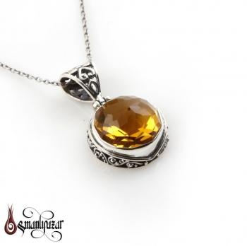 Orjinal Sarı Topaz Taşlı 925 Ayar Gümüş Bayan Kolye - Thumbnail