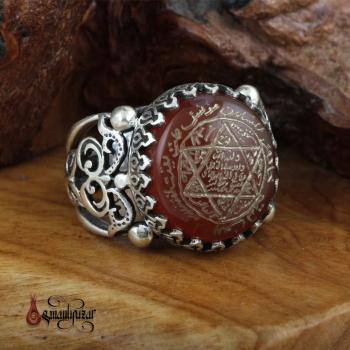 Orjinal Yemen Akik Taşlı Tamamı EL YAZMASI Mührü Süleyman Gümüş Yüzük - Thumbnail