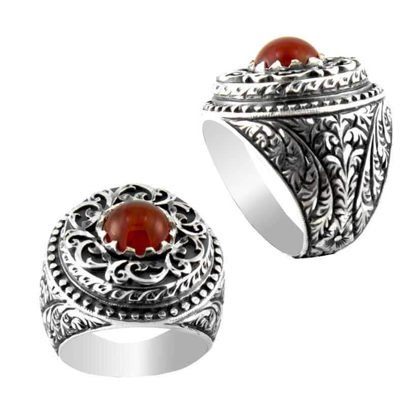 Osmanlı Anadolu Desenli Akik Taşlı El işi Gümüş Yüzüğü