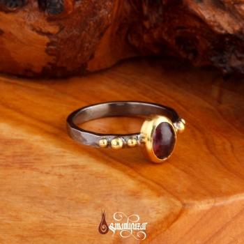 Otantik Tasarım Granat Doğal Taşlı 925 Ayar Gümüş Bayan Yüzük - Thumbnail