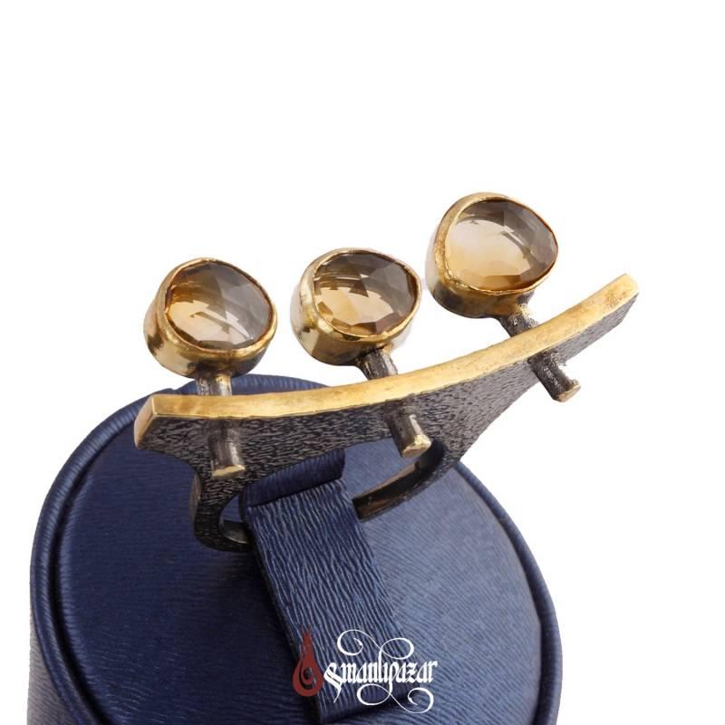 Otantik Tasarım Sitrin Doğal Taşlı 925 Ayar Gümüş Bayan Yüzük