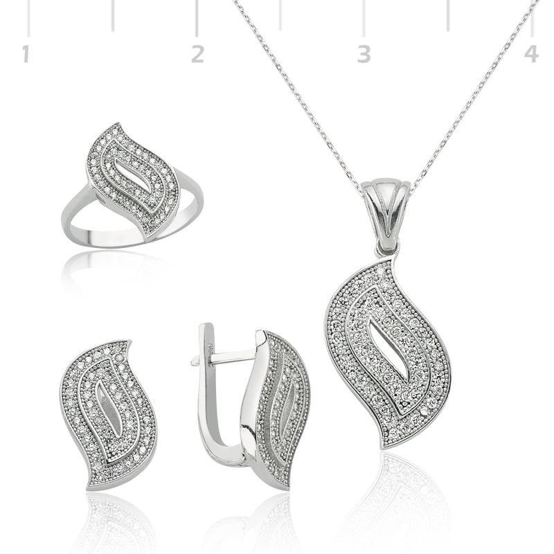 Özel Tasarım Beyaz Taşlı 925 Ayar Gümüş Set