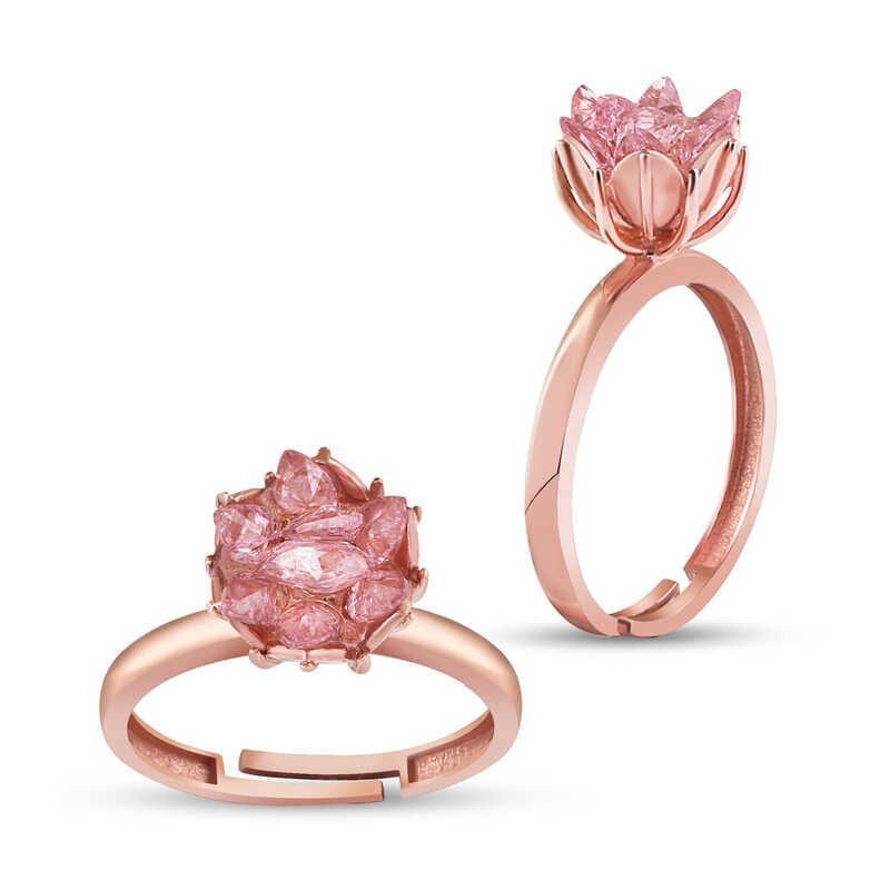 Pembe Lotus Çiçeği Rose Kaplama Gümüş Yüzük