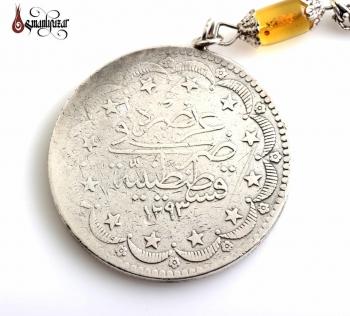 Polonya Damla Kehribar 925 Ayar Gümüş Püskül ve Osmanlı Parası - Thumbnail