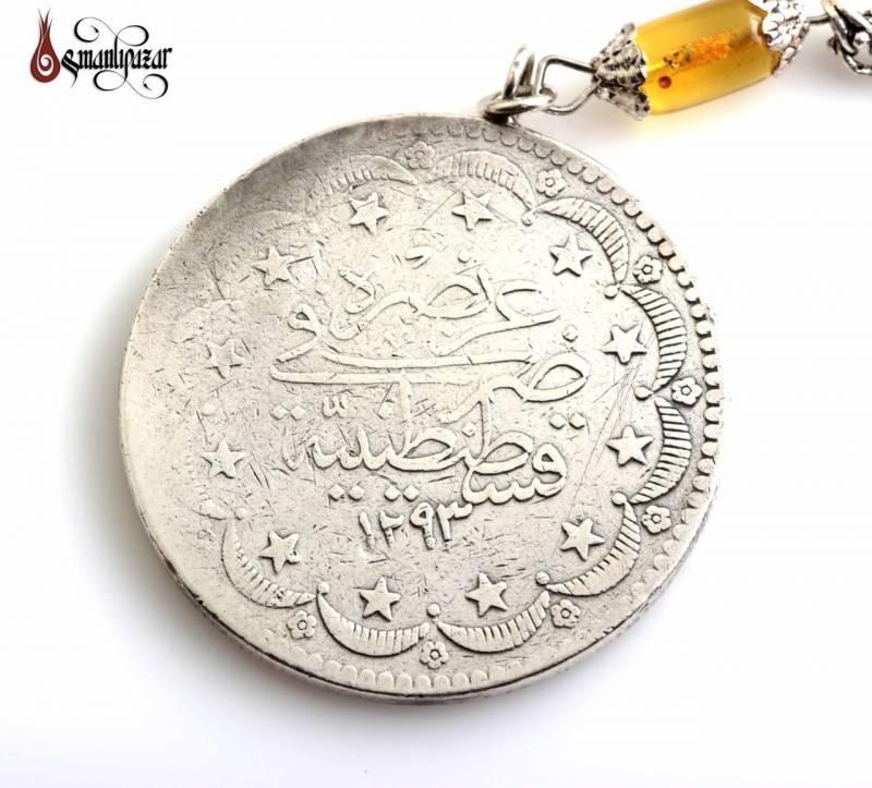 Polonya Damla Kehribar 925 Ayar Gümüş Püskül ve Osmanlı Parası