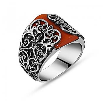 Sıkma Kehribar Taşlı Gümüş Erkek Yüzüğü - Thumbnail
