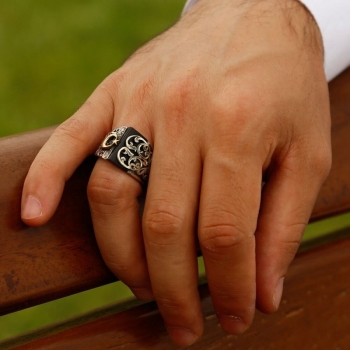 Siyah Taşlı Ayyıldız Desenli Erzurum El İşi Gümüş Erkek Yüzüğü - Thumbnail