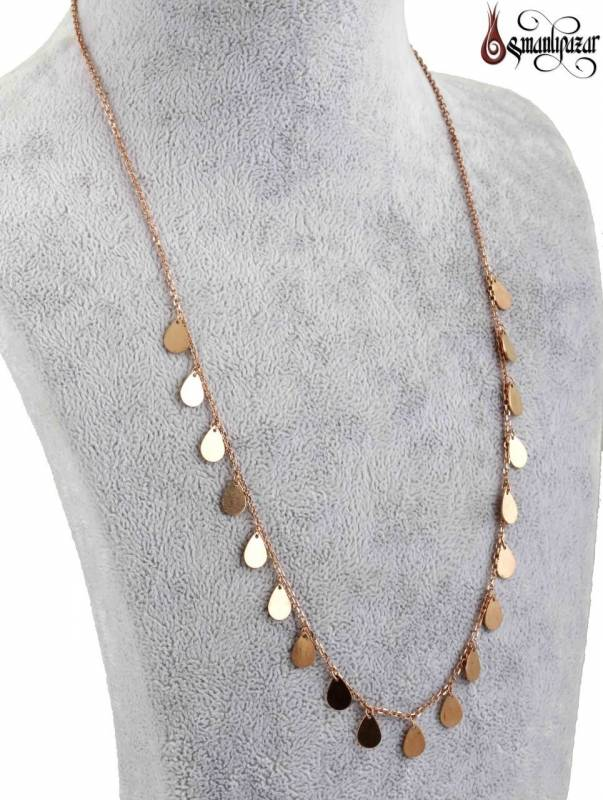 Tiffany Zincir Kolye Damla Model 925 Ayar Gümüş