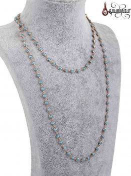 Tiffany Zincir Kolye Tek Sıra Turkuaz (Firuze) Tasarımlı - Thumbnail
