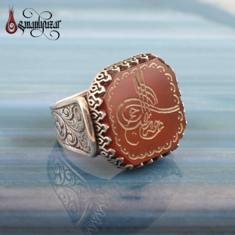 Tuğra İşlemeli Doğal Akik Taşlı 925 Ayar Gümüş Yüzük