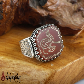 Tuğra İşlemeli Doğal Akik Taşlı 925 Ayar Gümüş Yüzük - Thumbnail