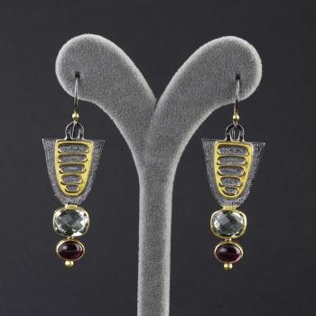 Yakut ve Akuamarin Doğal Taşlı 925 Ayar Gümüş Küpe - Thumbnail